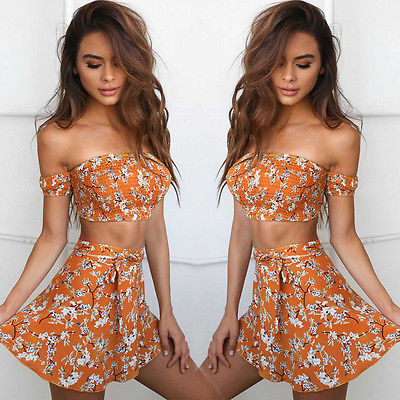 Two Piece Summer Floral Set, apparel - Hazy Lines