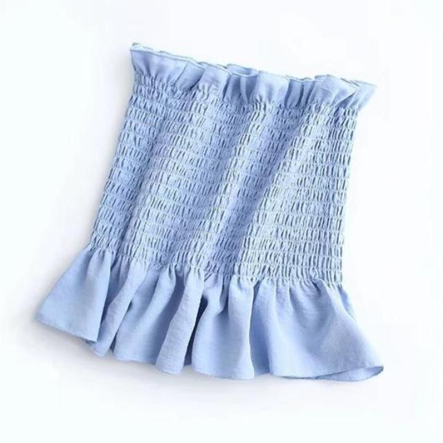 Ribbed Ruffle Trim Tube Top, apparel - Hazy Lines