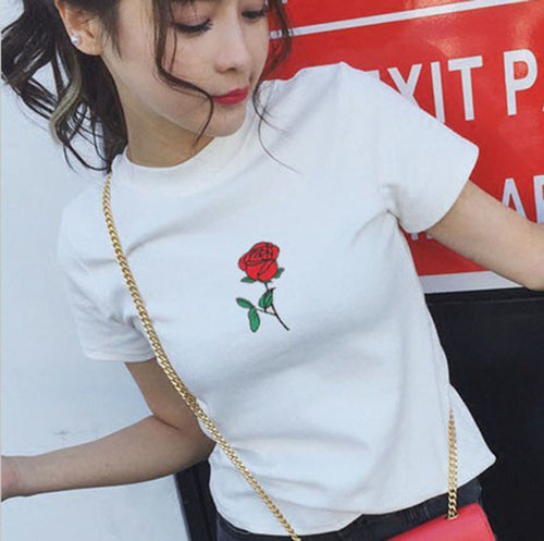 Embroidered Rose Tee, apparel - Hazy Lines