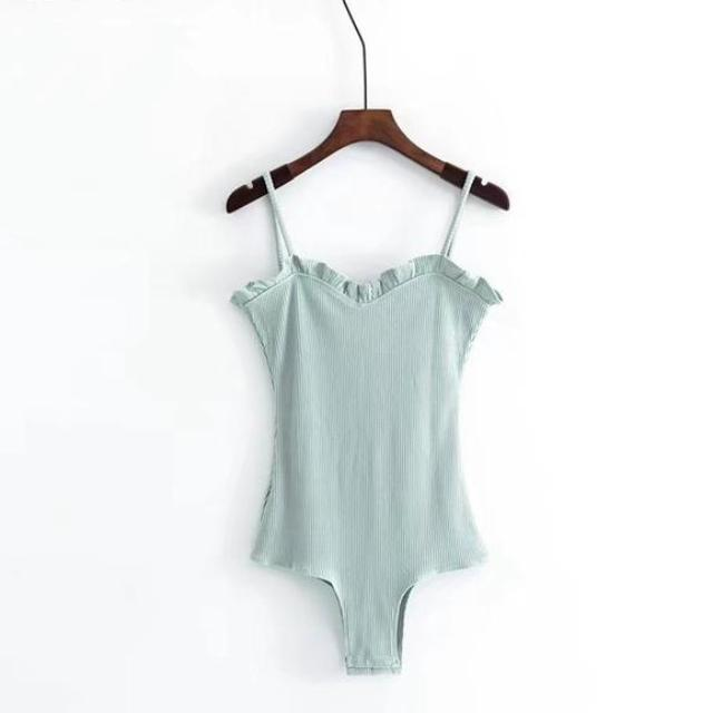 Ribbed Knit Frill Bodysuit, apparel - Hazy Lines