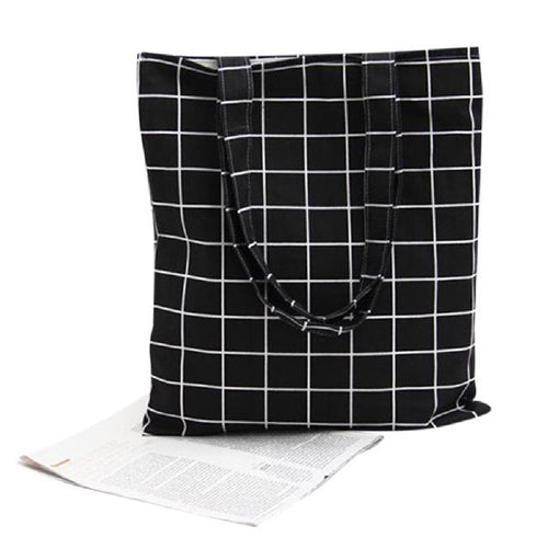 Plaid Print Tote Bag, accessory - Hazy Lines