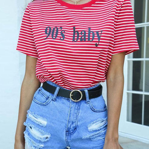 Red Striped 90's Baby Tee
