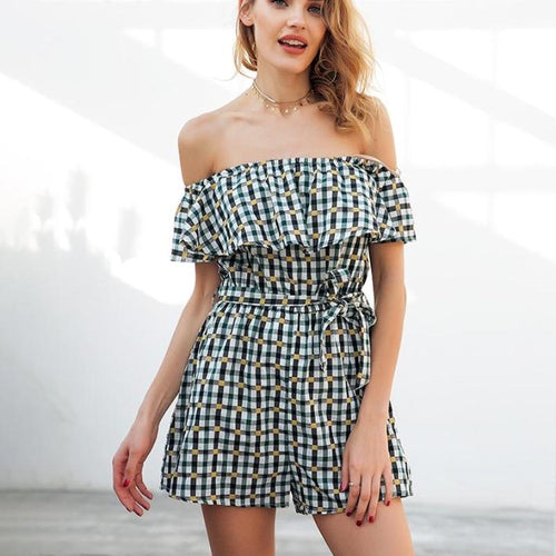 Off the Shoulder Plaid Playsuit, apparel - Hazy Lines