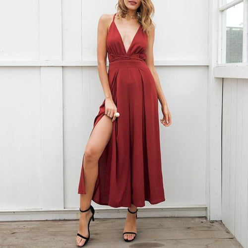 V Neck Backless Jumpsuit