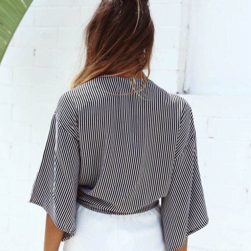 Pin Stripe Cropped Tie Up Top