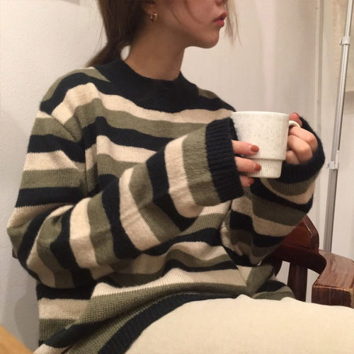 Oversized Striped Woollen Sweater