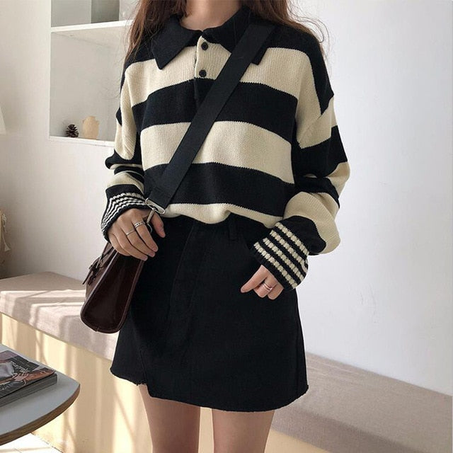Knitted Stripe Rugby Jumper