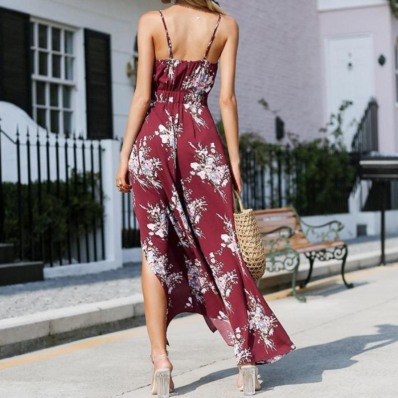Boho Style Split Wide Leg Jumpsuit, apparel - Hazy Lines