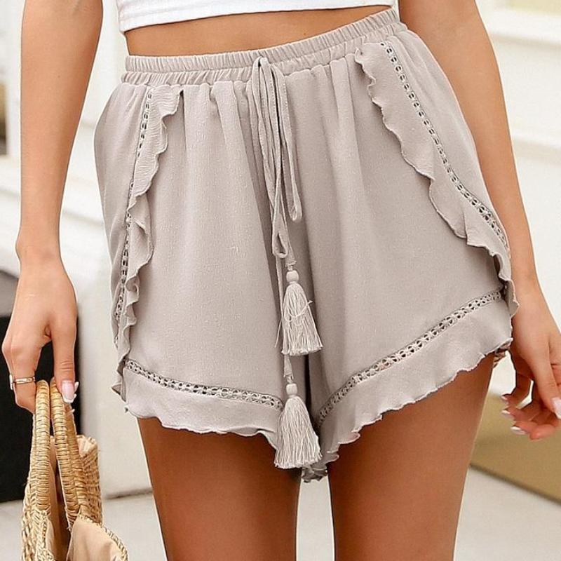 Ruffle Mini Shorts with Tassels, apparel - Hazy Lines
