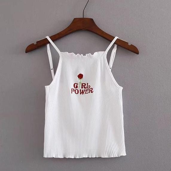 Embroidered Girl Power Ribbed Tank Top