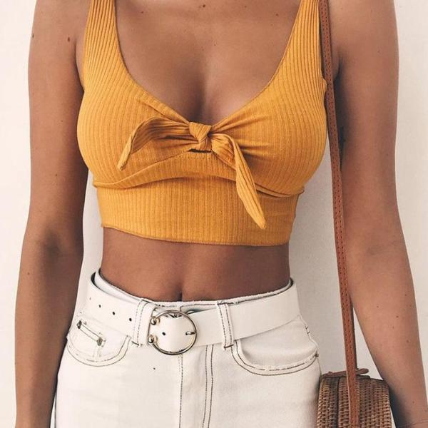Ribbed Tie-up Crop Cami