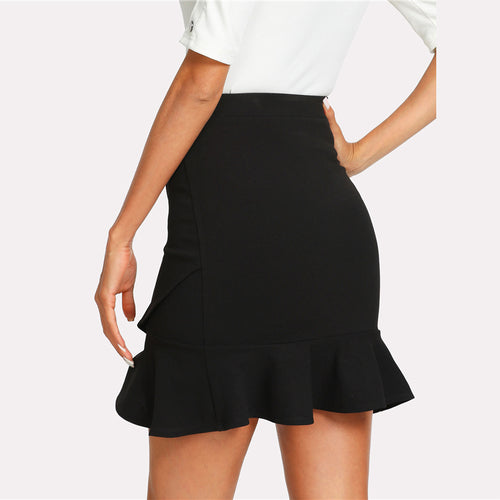 Asymmetrical Flounce Wrap Skirt