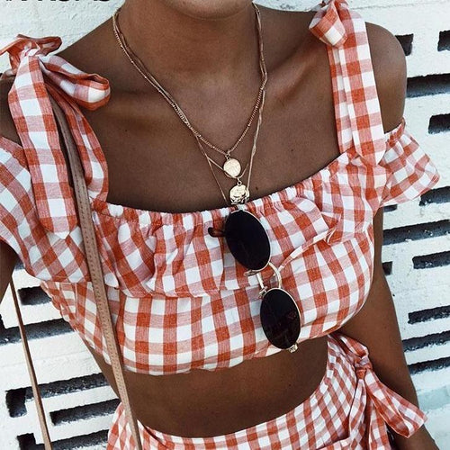 Plaid Cropped Tie Up Top
