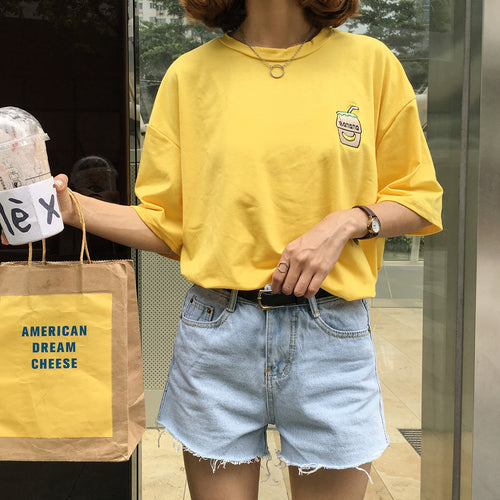 Embroidered Banana Milk Shirt, apparel - Hazy Lines