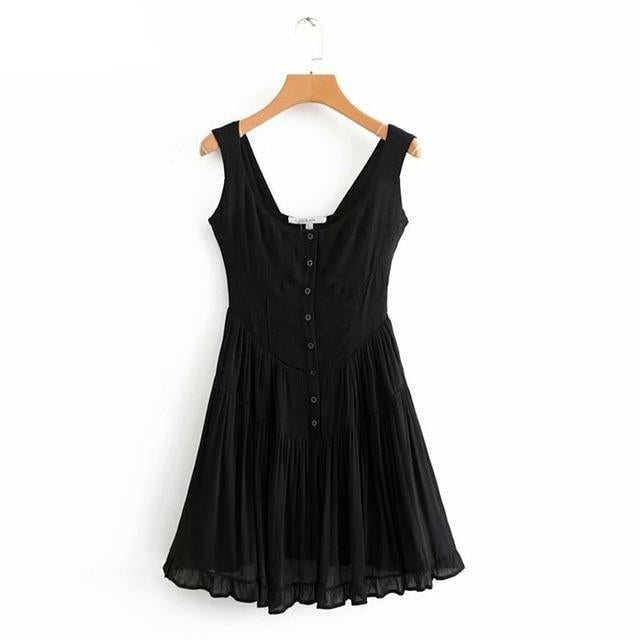 Pleated Button Down Summer Dress