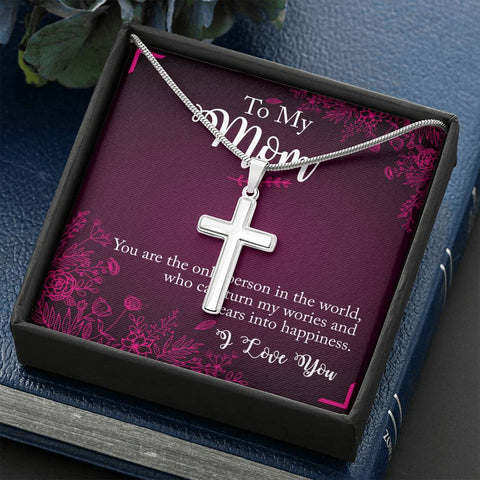 To My Mom I love you Cross Necklace