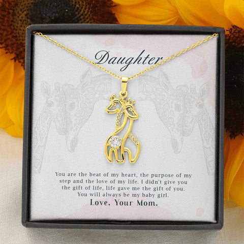 Daughter You Are The Beat Of My Heart Giraffe Necklace