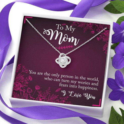 To My Mom I love you Custom Love Knot Necklace