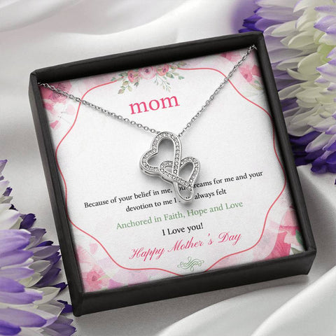 I Love You Happy Mother's Day Double Hearts Necklace