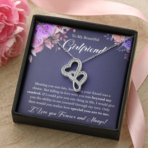 To My Beautiful Girlfriend Forever Love Double Hearts Necklace