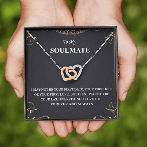 To My Soulmate I Love You Forever And Always Interlocking Hearts Necklace