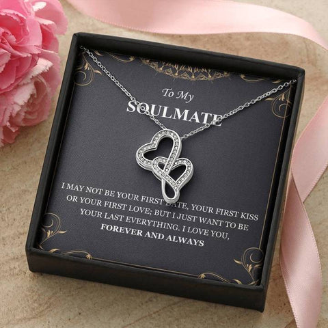 To My Soulmate I Love You Forever And Always Double Hearts Necklace