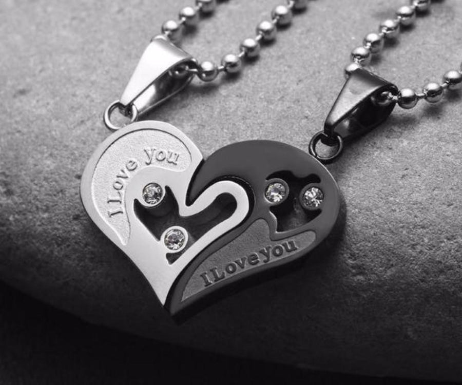 Jewelry sugarandhoney i love you couples heart necklace set aloadofball