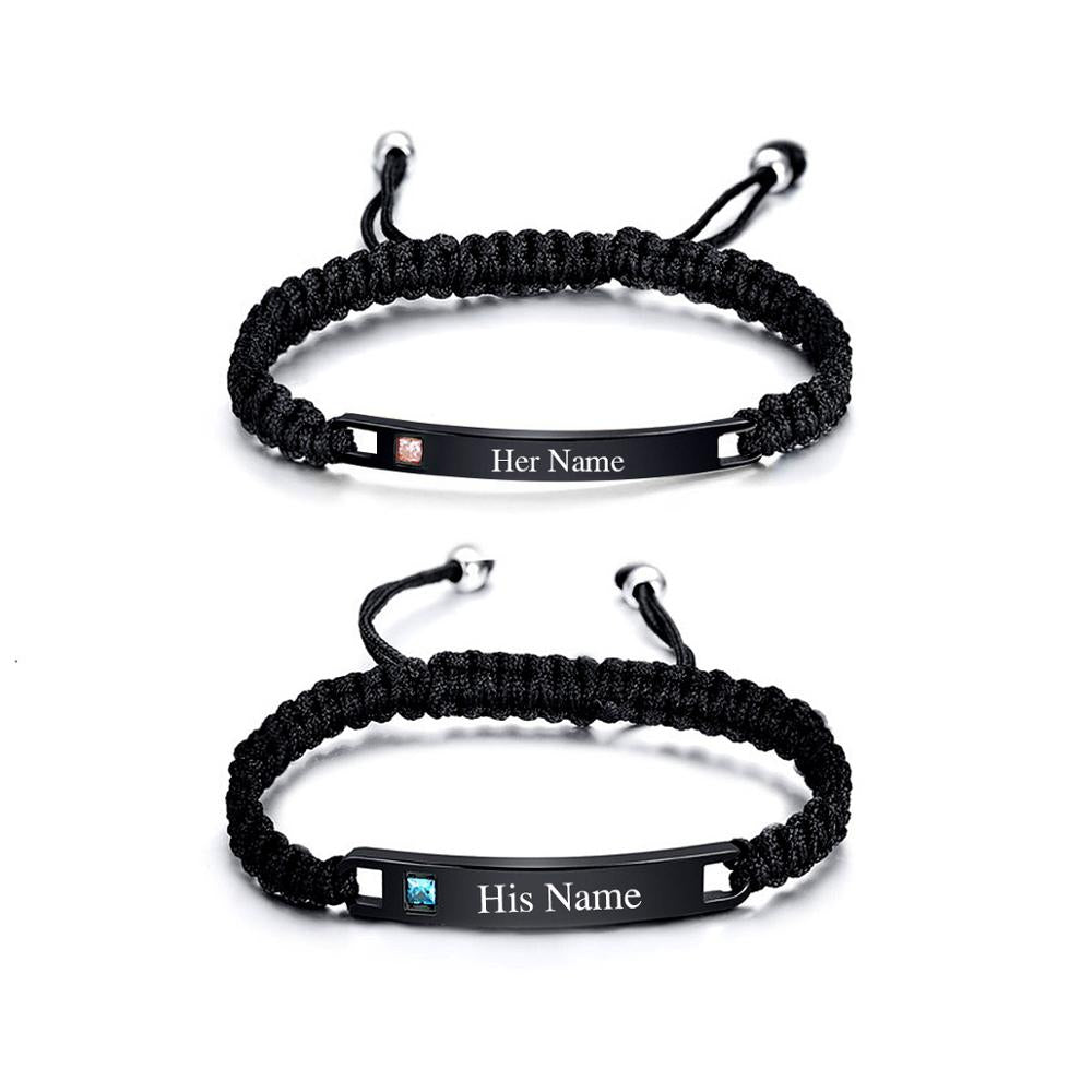 Girlfriend Boyfriend Gift Personalized Couples Bracelet Her One His Only His and Her Bracelet Couples Anniversary Gift Egraved Bracelet