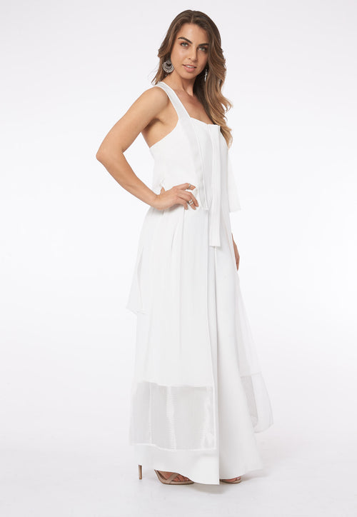 Over The Clouds In Santorini White Mesh Jumpsuit