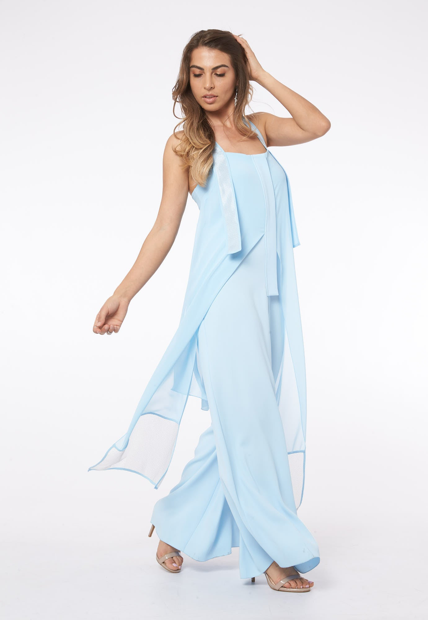 Over The Clouds In Santorini Blue Mesh Jumpsuit