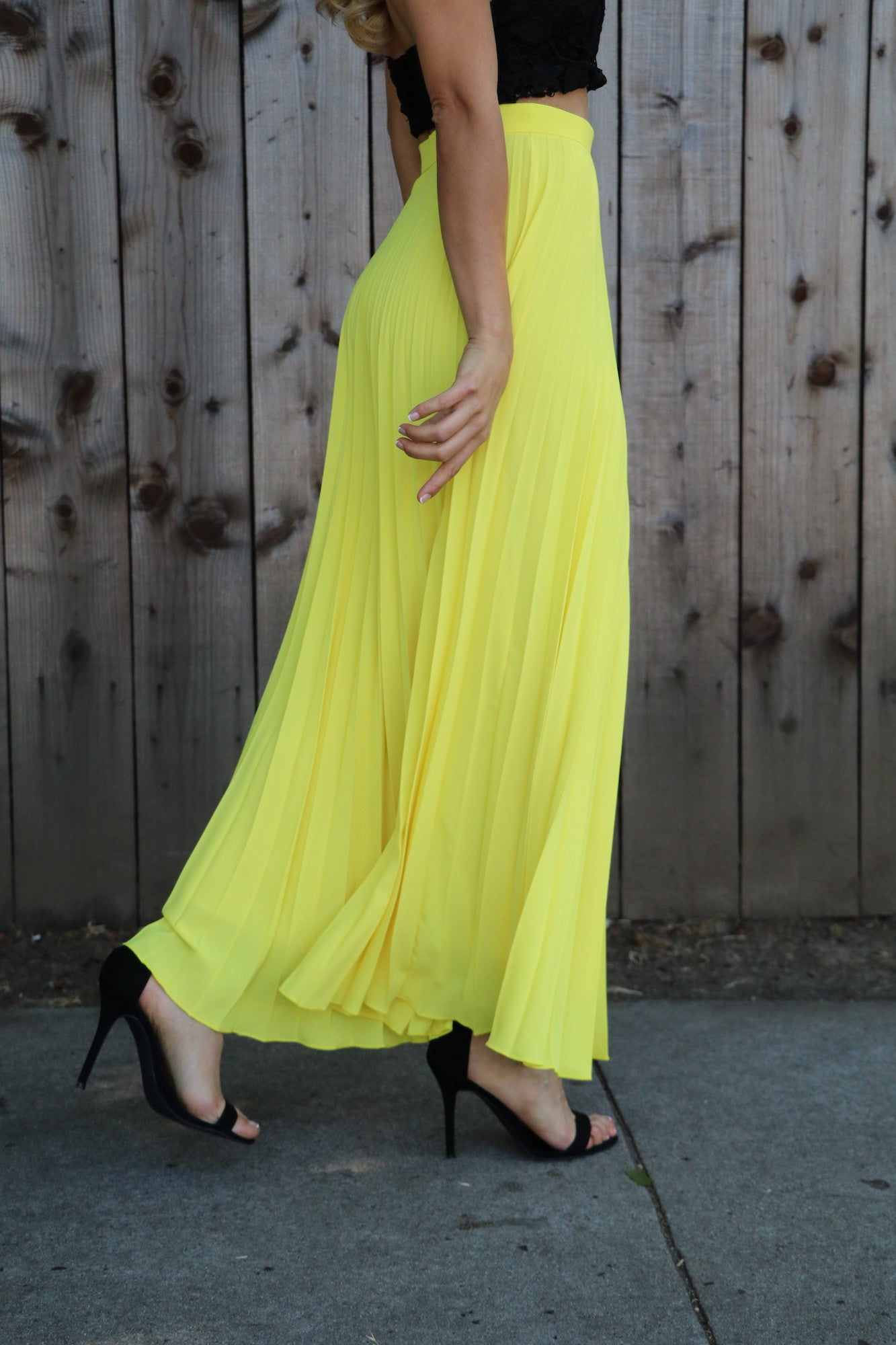 Lemon Sorbet in Lisbon Pleated Dress