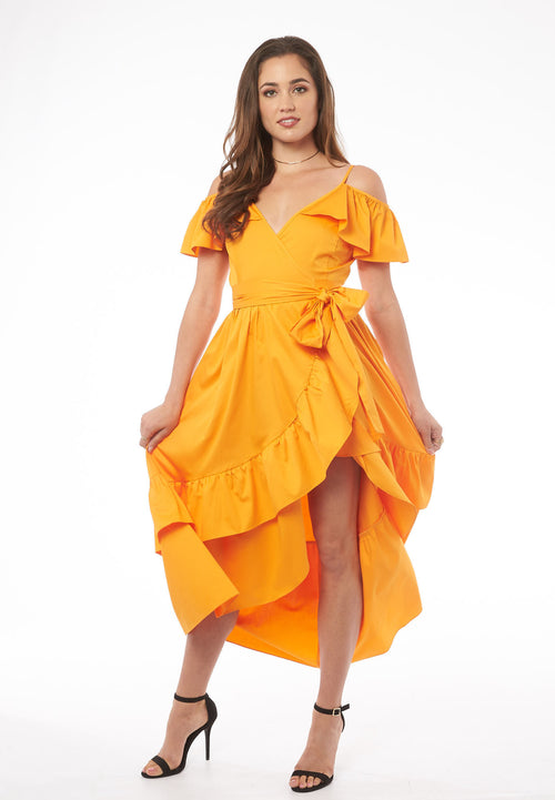 Feel the Rhythm in Madrid Orange Ruffle Slit Dress