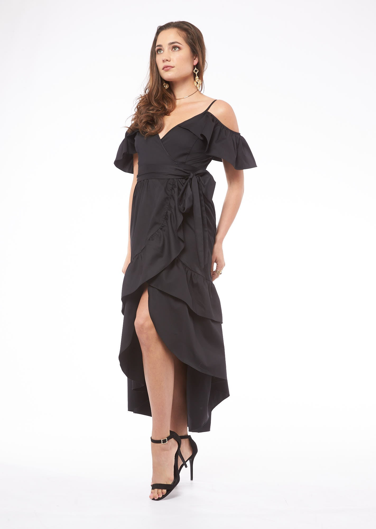 Feel the Rhythm in Madrid Black Ruffle Slit Dress