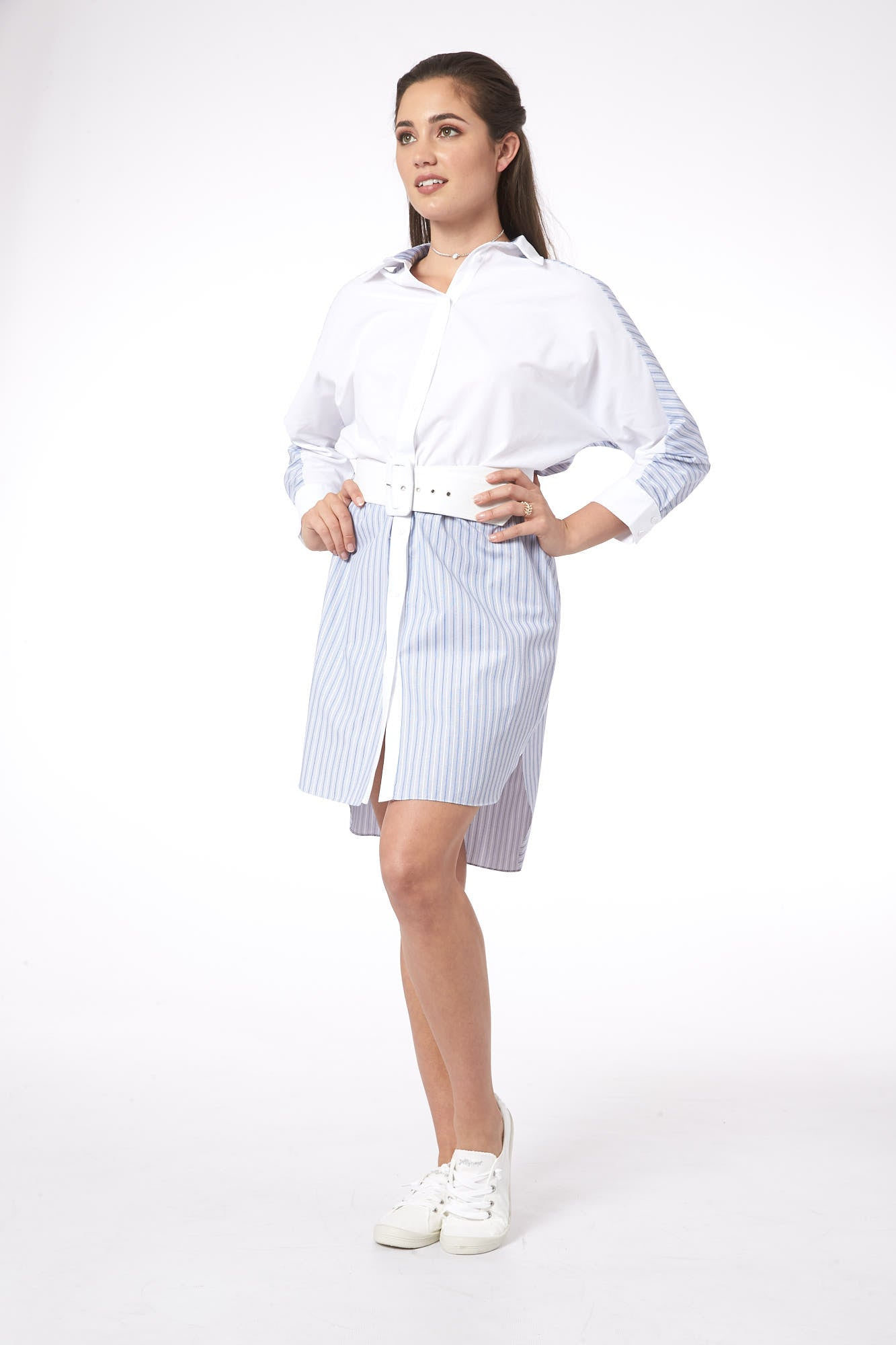 Break The Lines in Zurich Striped Shirt Dress