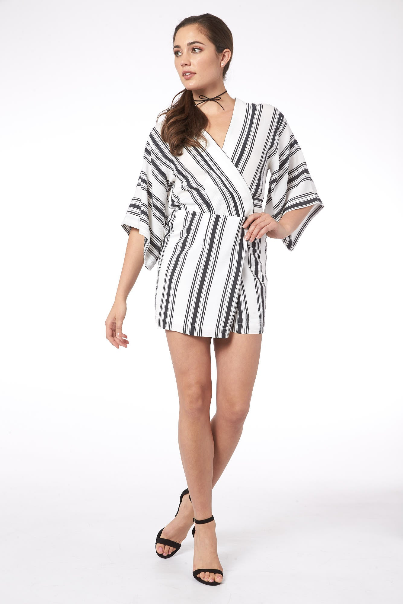 Lady of the Mallorca Island Striped Kimono Romper