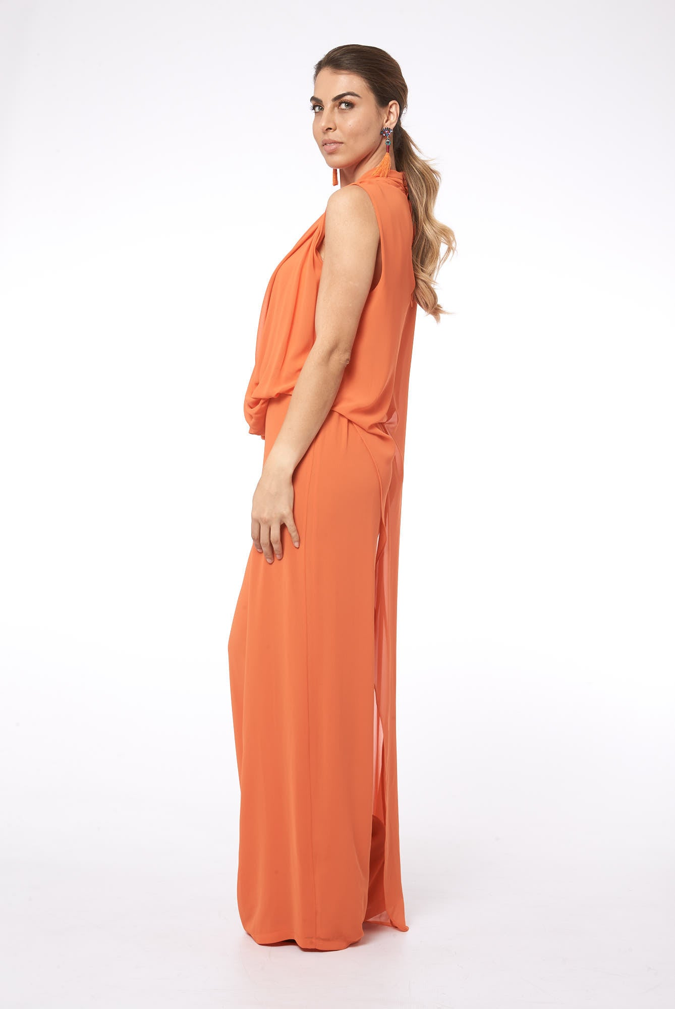 Cape It Together in Oslo Coral Jumpsuit