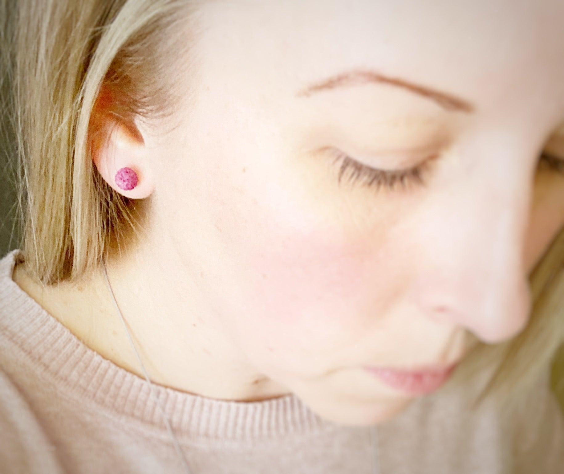 Pink Lava Stone Earrings - Small 6mm