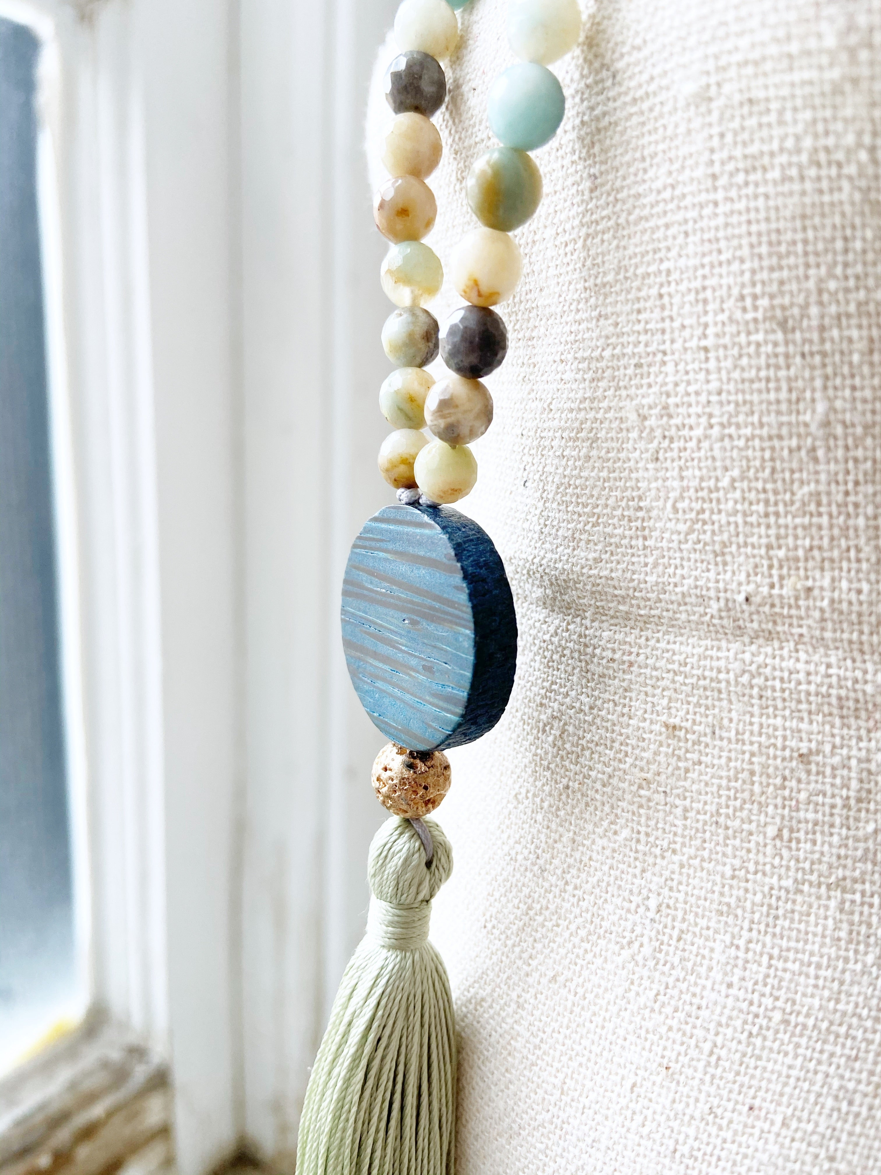 Amazonite & Wood Necklace