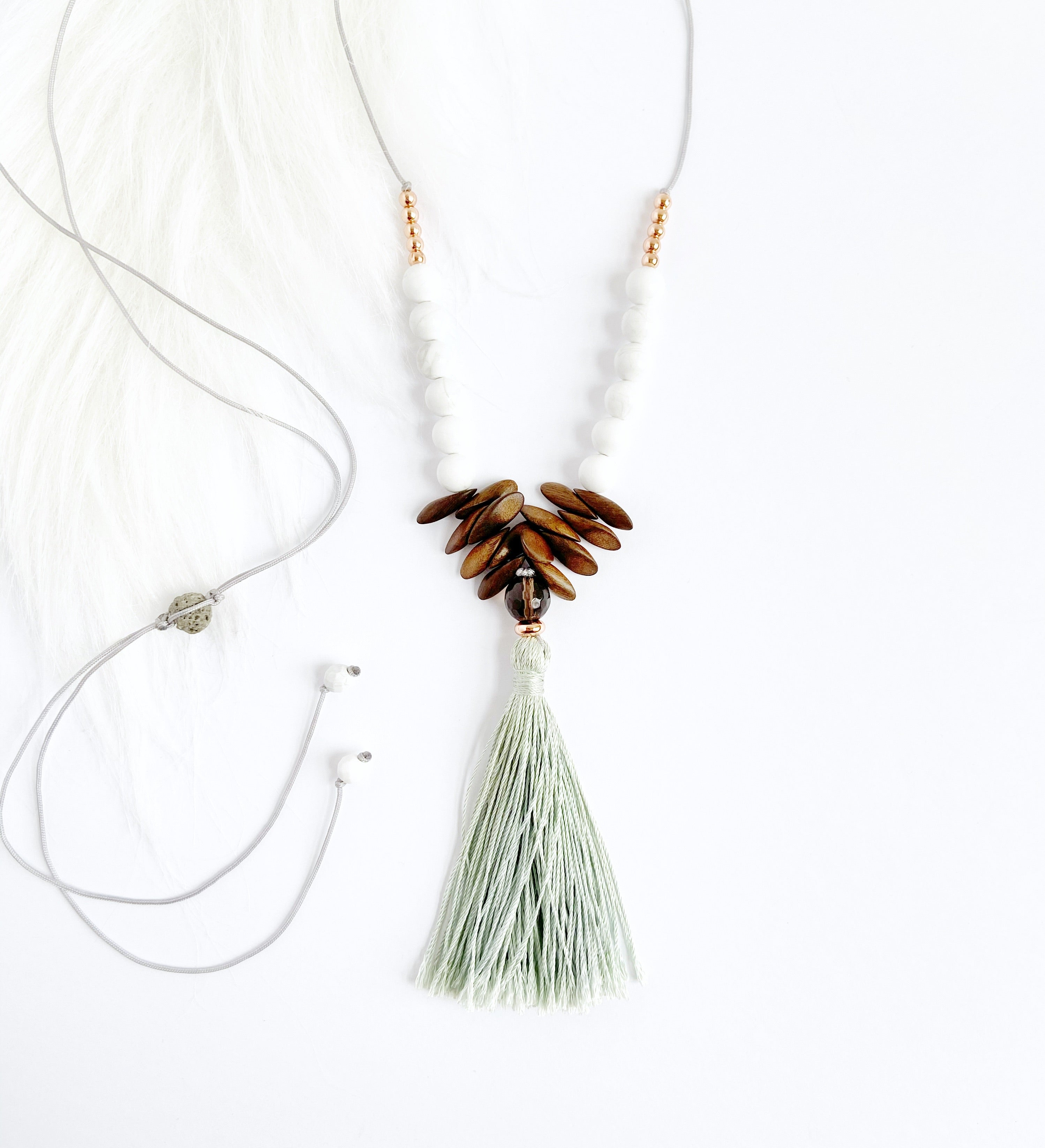 Smokey Quartz & Howlite Necklace