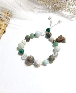 Moonstone & Moss Agate with Tassel