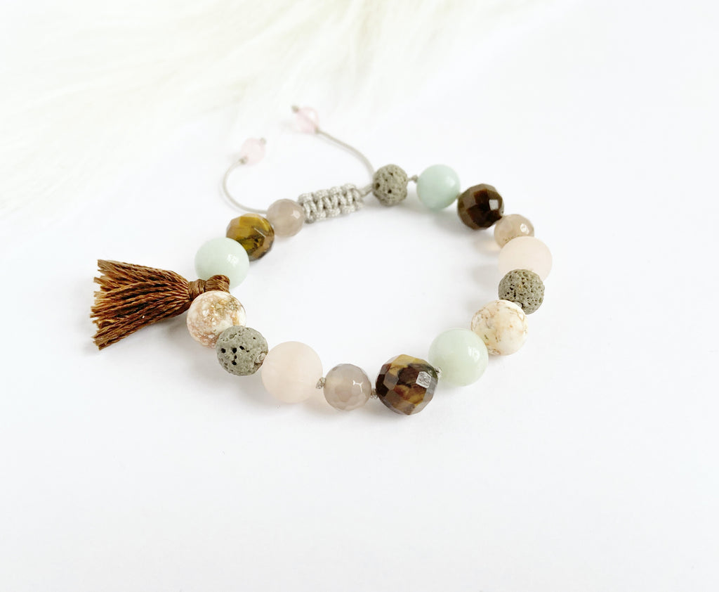 Rose Quartz & Tiger Eye with Tassel