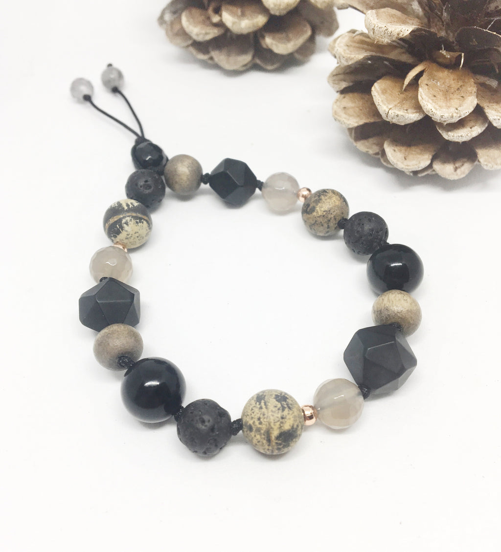 """Cold as (Black) Ice"" Adjustable Diffuser Bracelet"