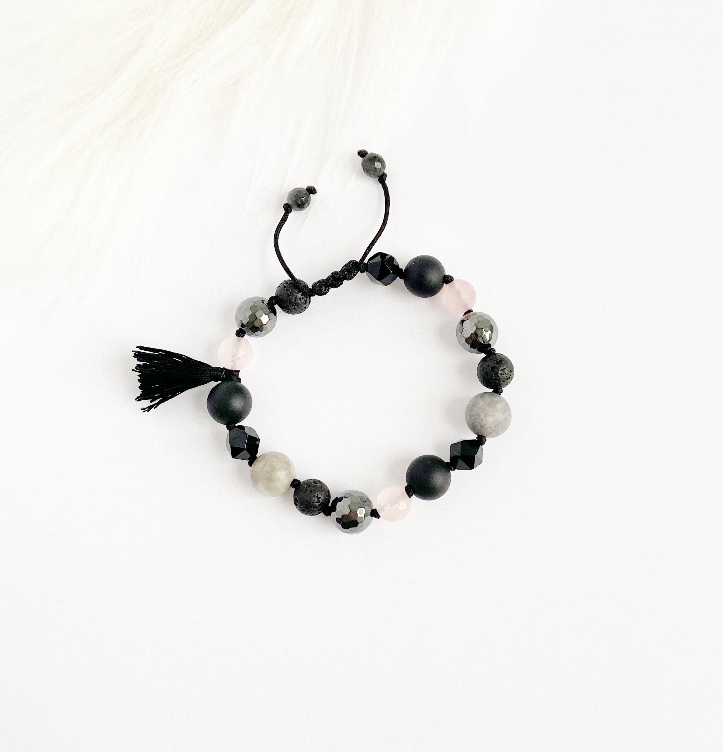 Hematite & Rose Quartz with Tassel