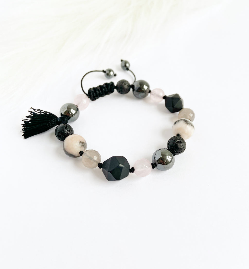 Onyx & Rose Quartz with Tassel
