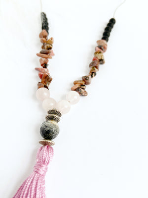 Rose Quartz & Rhodonite Necklace
