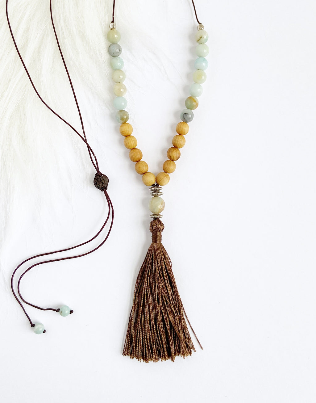 Amazonite & Cedarwood Necklace