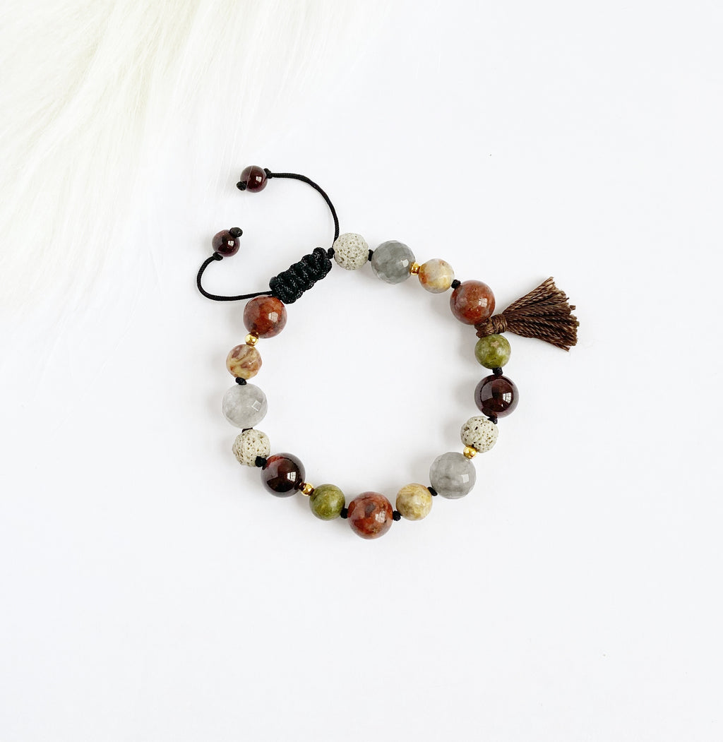 Unakite & Garnet with Tassel