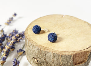 Navy Lava Stone Earrings - Medium 8mm