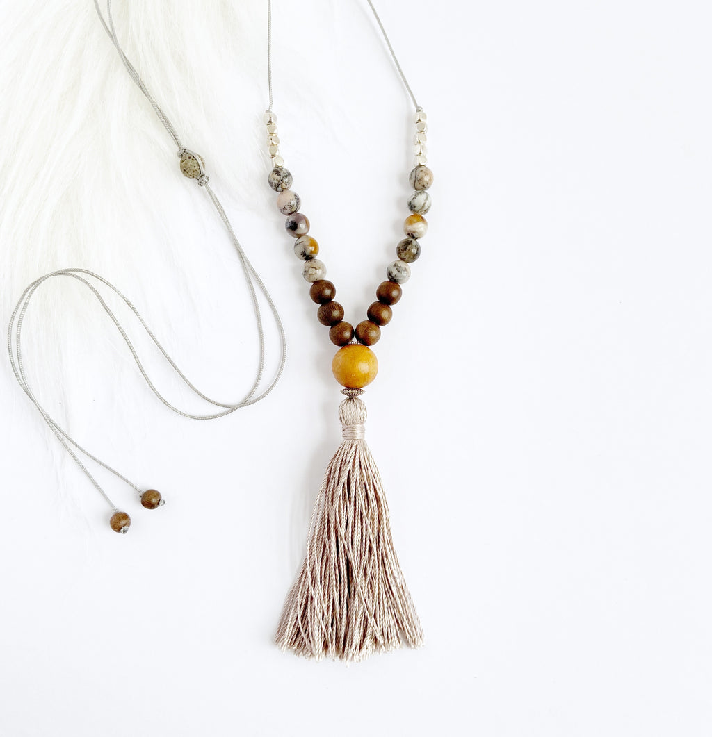 Jackfruit Wood & Agate Necklace