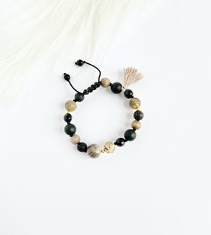 Black Onyx & Sunstone with Tassel